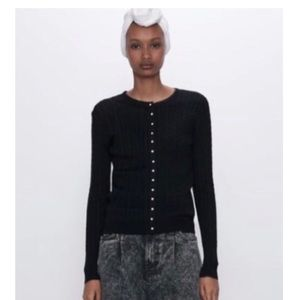 NWT Black Cable Knit Cardigan Rhinestone Buttons